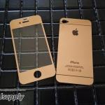 ฟิล์มกระจก iPhone4/4s ลายกระจกเงา สีโรสโกล์ด