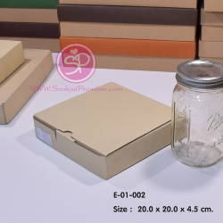 E-01-002 : กล่องลูกฟูกลอนเล็ก ขนาด 20.0 x 20.0 x 4.5 ซม.