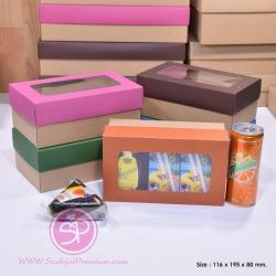 กล่องฝาครอบ ฝาสีต่างๆ ขนาด 11.6 x 19.5 x 8.0 ซม. มีหน้าต่าง