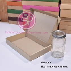 H-01-003 : กล่องลูกฟูกลอนเล็ก ขนาด 19.5 x 30.5 x 4.5 ซม.